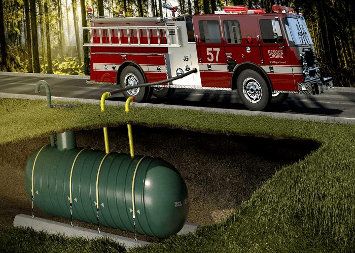 Cistern for fire